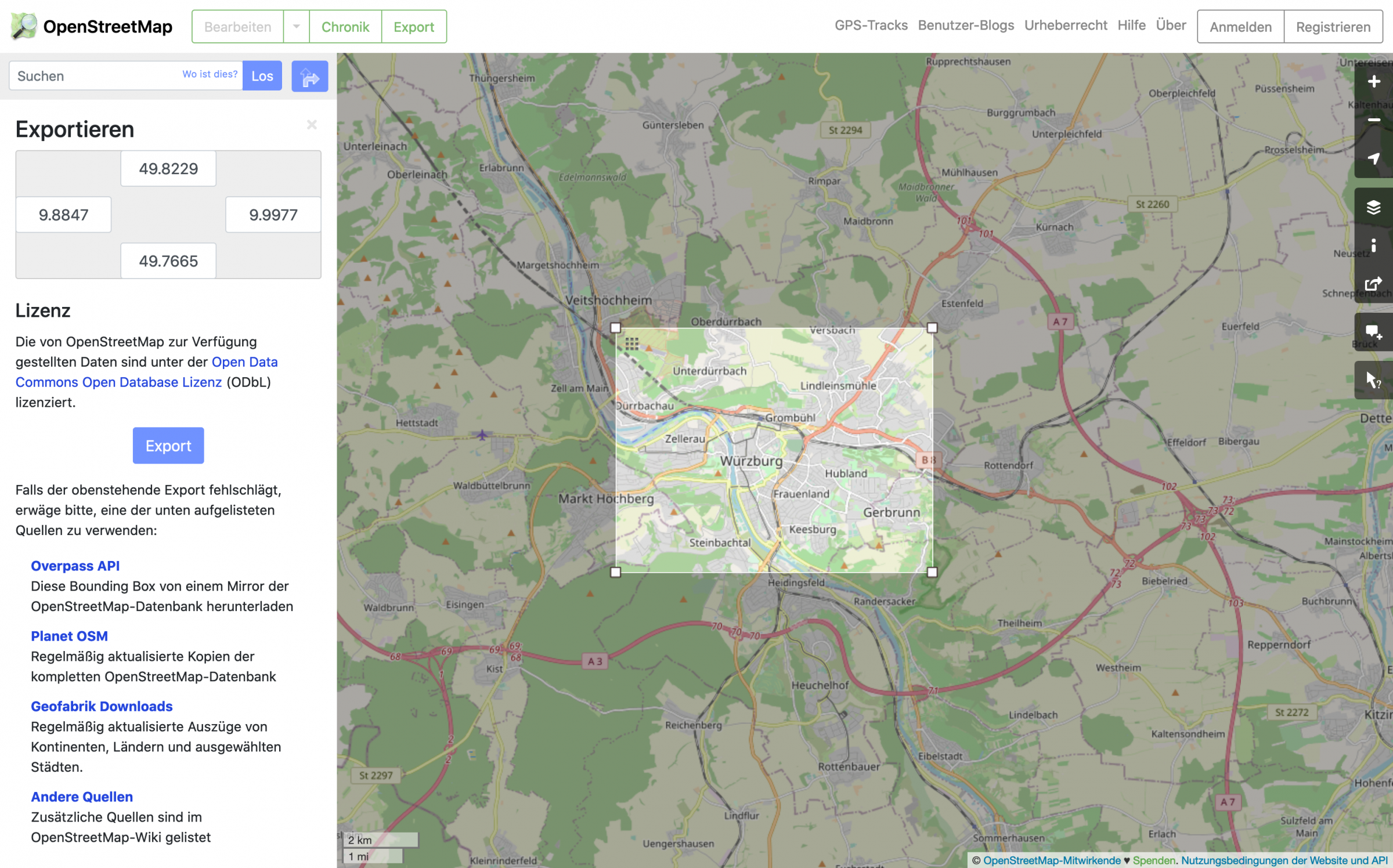 Data export from the OpenStreetMap webseite