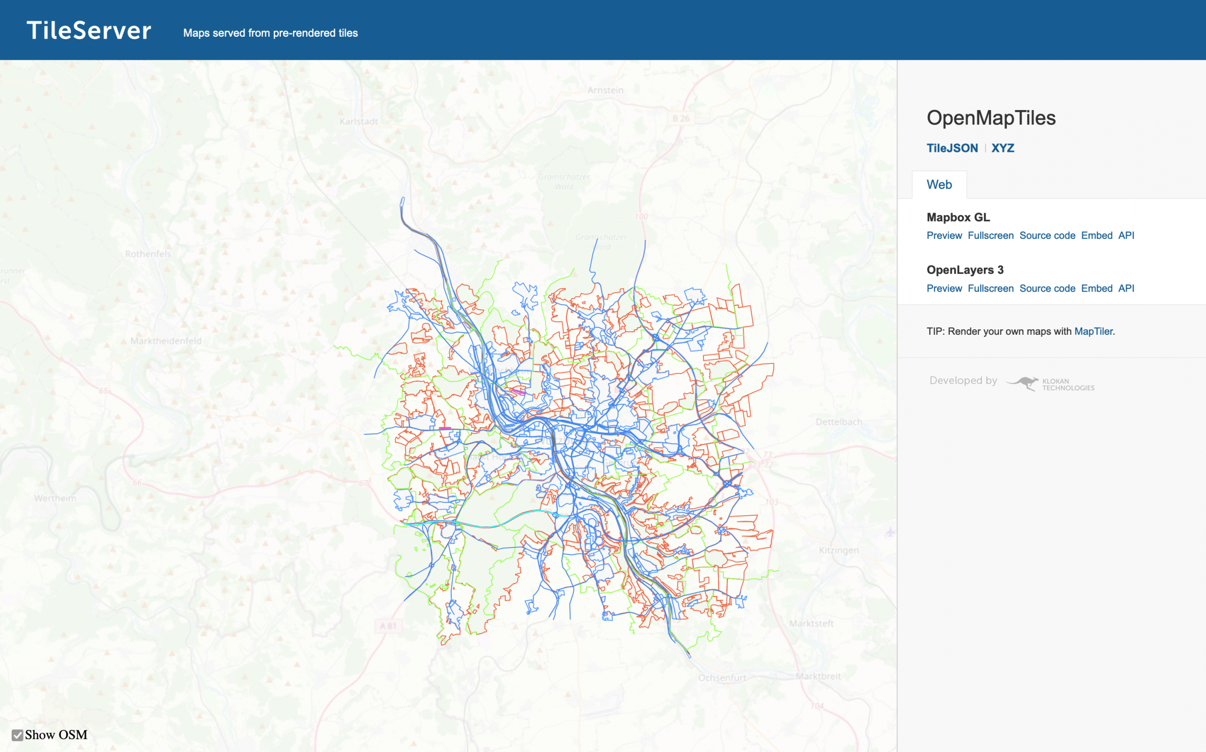 The tileserver interface showing a map populated with OpenStreetMap data
